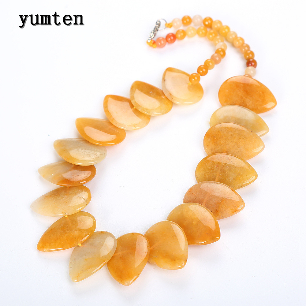 Yumten Topaz Necklace Women Natural Stone Leaf Pendant Men Choker Flower Charms Jewelry Yoga Anime Vintage Kolye Choker Korea vintage knitted choker necklace