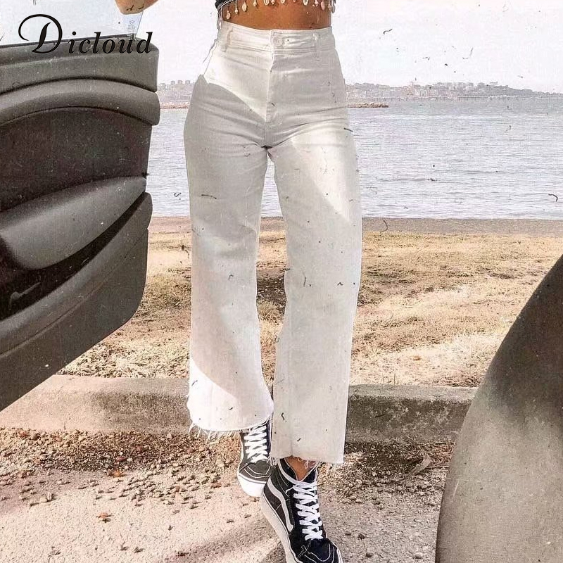 DICLOUD Casual Wide Leg White   Jeans   Women High Waist Fashion 2019 Autumn Winter Loose Streetwear Ladies Long Pants With Pockets