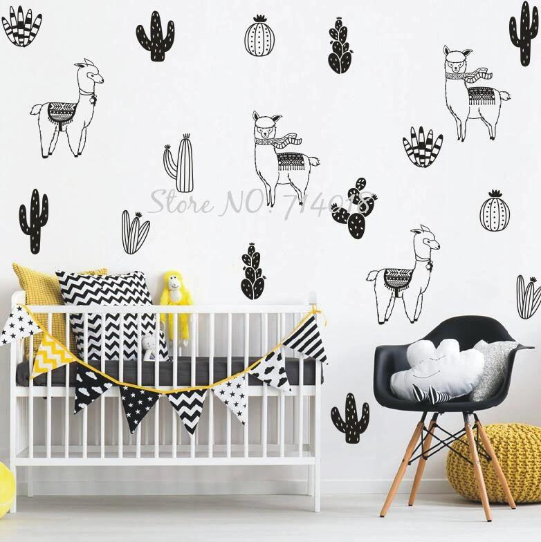 Name Decal-Nursery Wall Art Llama Wall Decor Cactus Wall Decals Nursery Wall Decals Girls Wall Art