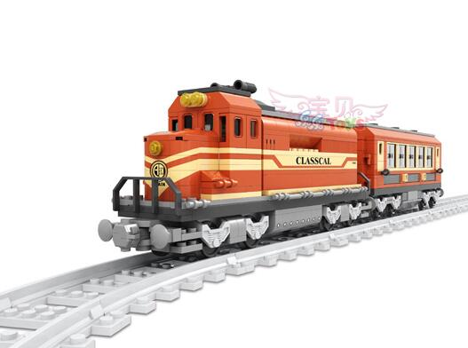 Model building kits compatible with lego city 25902 Train Brick block toys With tracks Children Educational Gift Compatible 006