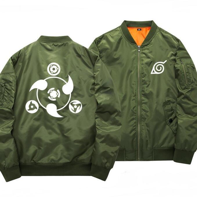Anime Naruto Sha Rinn Gann Printed Bomber Jacket Stand Collar Baseball Jackets New 2017 Autumn Winter