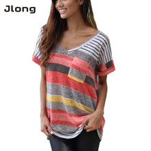 2017 spring summer Fashion Short Sleeve O-Neck T-Shirt Women Tops Tee Shirt Femme Pocket Striped Plus Size