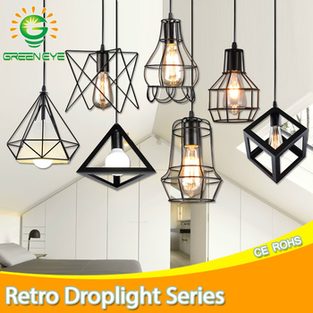 Modern Pendant Light Black Iron Hanging Cage Vintage Led Lamp Bulb E27 Dining Room Restaurant Bar Counter Industrial Loft Retro creative industrial wind style pendant light personality retro rope iron cage pendant lamp for restaurant bar clothing store