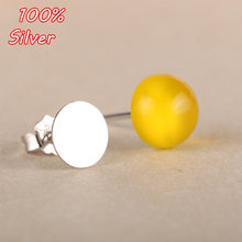100% 925 Sterling Silver Ear Nail 3MM To Insert 5MM Amber Turquoise Ear Nail Empty To 7MM(China)