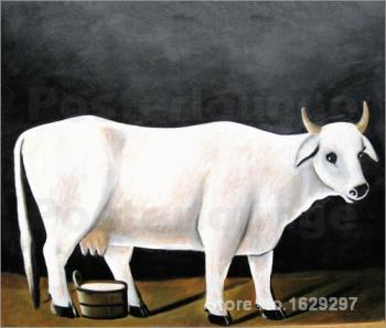 White Cow on a Black Background by Henri Rousseau Canvas art Painting High quality Hand painted