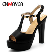 ENMAYER High Heels Shoes Woman Summer Sandals Pumps T Strap Peep Toe Plus Size 34 43