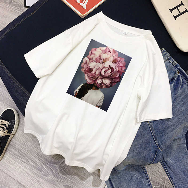 Moda T koszula kobiety Sexy kwiaty nadruk piór Casual koszulka harajuku O-neck 100% bawełna estetyka topy tees camiseta mujer