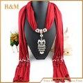 Nuevo diseño de la aleación owl mujeres colgante bufanda de la señora collar bufandas Wraps Retro borlas