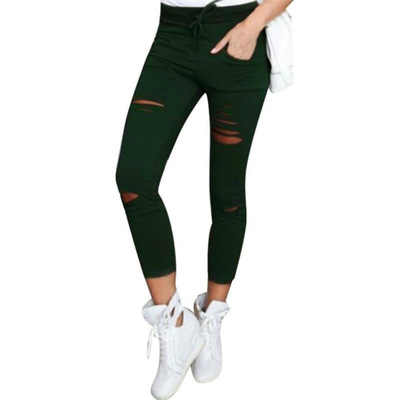 2019 חדש ripped ג 'ינס לנשים נשים גדול גודל ripped מכנסיים למתוח מכנסי עיפרון חותלות נשים ג' ינס
