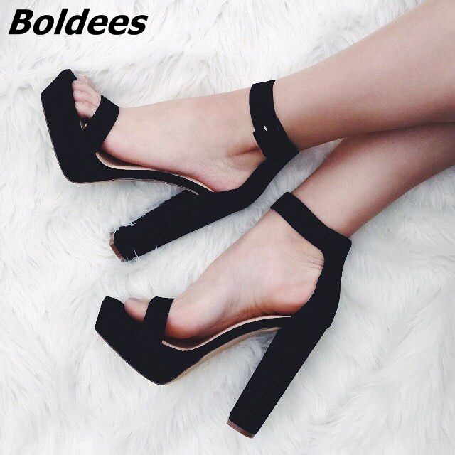 Chic Black Buckle Style Block Heel Platform Sandals Pretty Black Suede Open Toe Chunky Heel Dress Shoes Concise Style Sandals