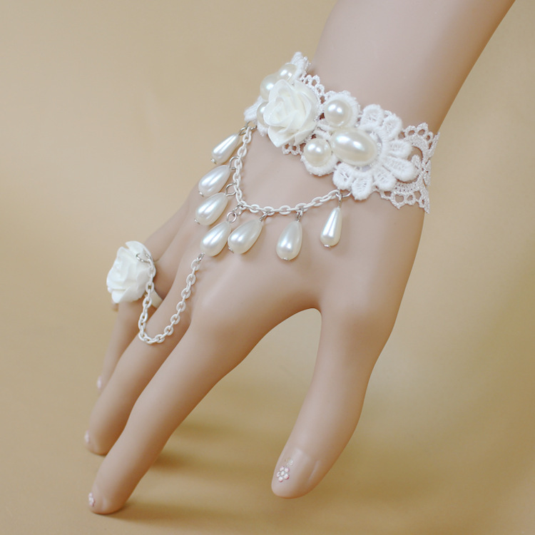 2015 hit the bride bridesmaid bracelets white lace pearl roses ...