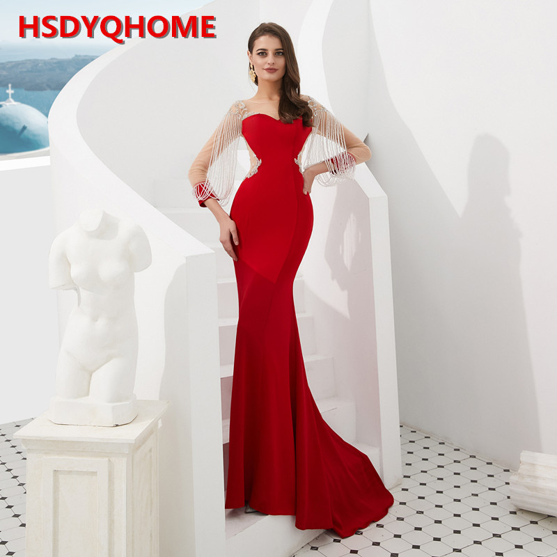 HSDYQHOME Red Mermaid Evening Dress Sequin Lace Beading Tassel Sleeve Formal Party 2019 High-end Manual Reflective Dress