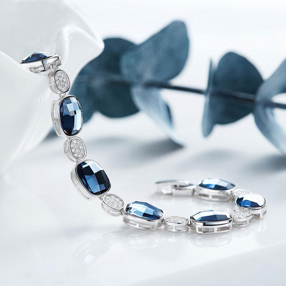 OLOEY luksusowe kryształy bransoletki dla kobiet 100% prawdziwe 925 srebro bransoletka srebrna bransoletka drobne akcesoria biżuteria 2018 nowy YMB004 w Bransoletki i obręcze od Biżuteria i akcesoria na  Grupa 3