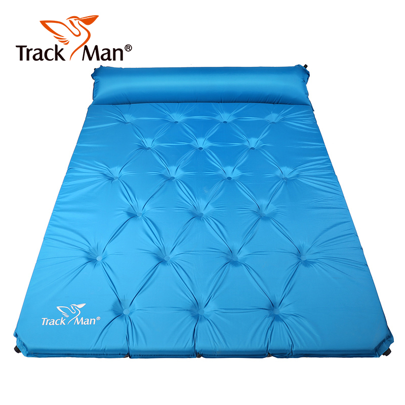 Trackman 2 Person Camping Mat Outdoor Self-Inflating Pad with Pillow Travel Mat Automatic inflatable mats double Mattress kingcamp comfort mattress self inflating damp proof 2 person camping mat with pillows inflatable mattress
