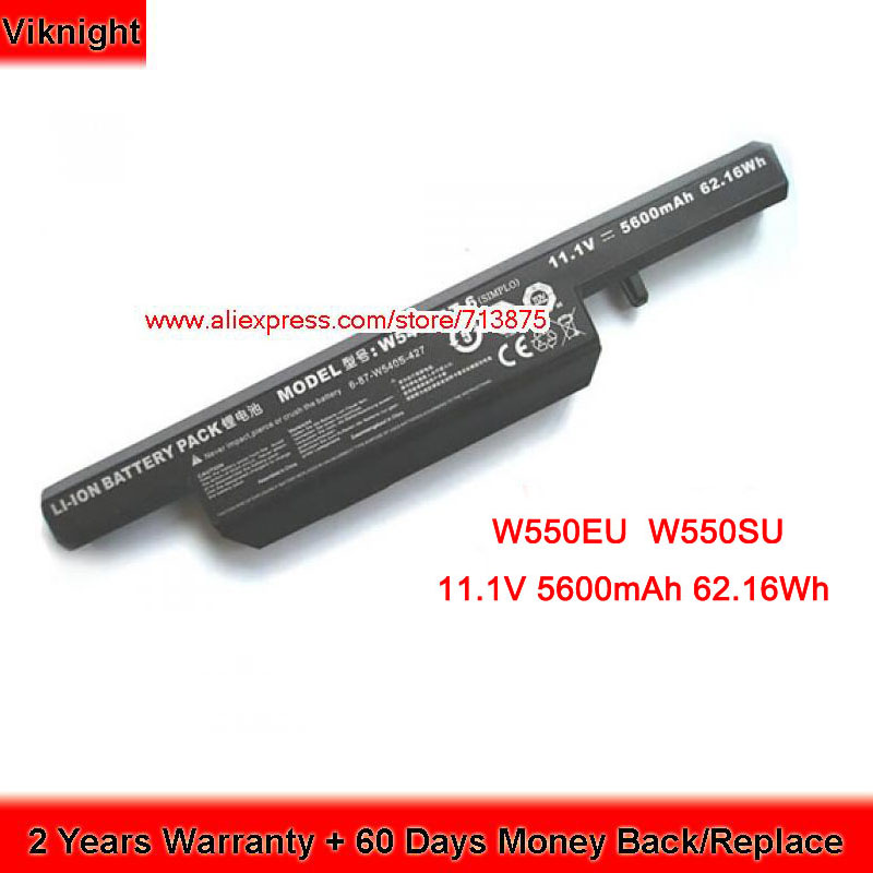W540BAT-6 Laptop Battery for Clevo W550EU W540SU W540EU W54EU W55EU W550SU W551SU1 5600mAh 6-87-W540S-427 Q22552 62.16Wh clevo 6 87 w130s 4d72 w130hubat 6 battery for clevo w255cew 6 87 w130s 4d71 6 87 w130s 4d7 w130hubat6 battery 11 1v 5600mah