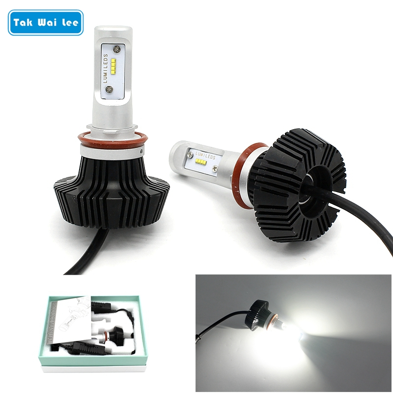 Tak Wai Lee 2X 25W 4000LM LED Car Headlight Styling Source IP65 6500K H1 H3 H7 H11 9005 9006 Single Beam DRL Front Fog Lights tak wai lee 10pcs set multi function led drl daytime running light car styling trun steering eagle eyes on off with controller