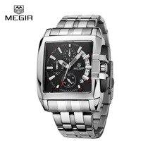 Megir marca de luxo 2018 homens relógio cronógrafo de quartzo dos homens relógio de aço completo relógio de pulso esporte/negócios montre homme