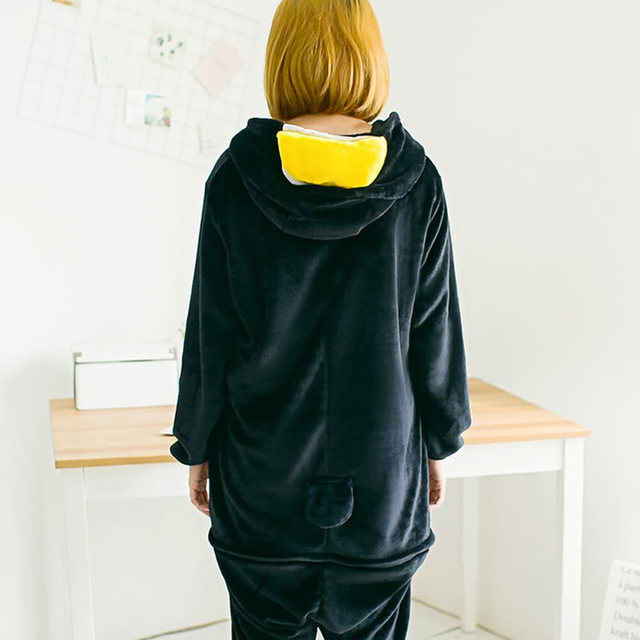 Anime Totoro Kigurumi Women Winter Kawaii Clothes Pajamas Adult Animal Black Penguin Cosplay Costume Unisex Warm Sleepwear