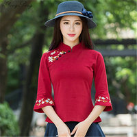 Cheongsam top traditional chinese clothing women tops womens long sleeve tops Q322
