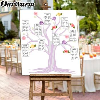 OurWarm 68x58cm DIY Wedding Table Plan Tree Seating Table Arrangement Wedding Banquet Guide Table Place Cards Wedding Decoration