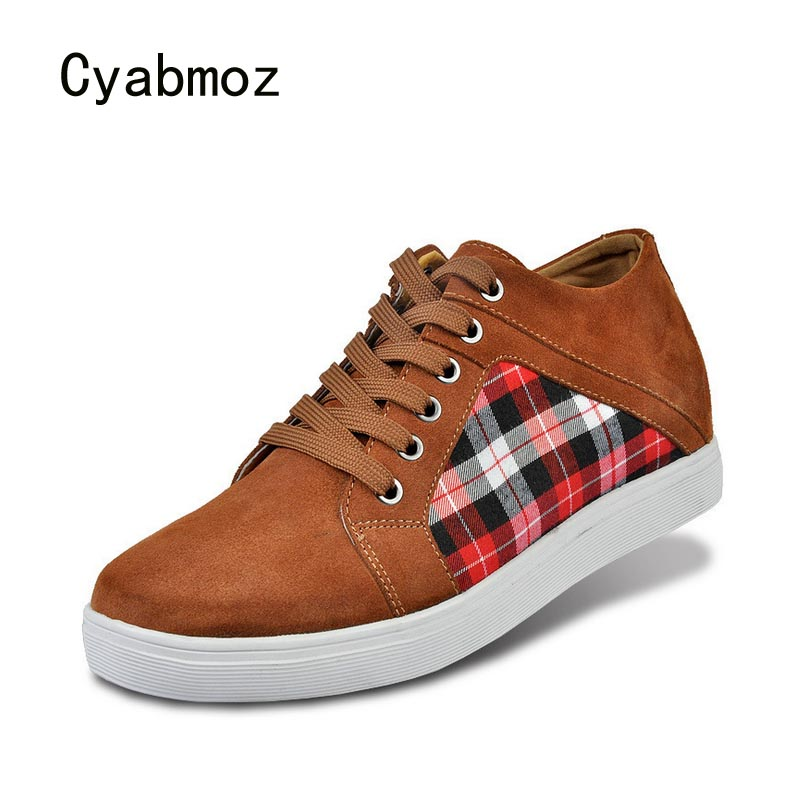 Cyabmoz Platform Men Hidden Heels height increasing 6cm Shoes Boys Elevator Sneakers Invisibly Breathable Plaid Casual Man Shoes inov 8 носки speed sock low l white