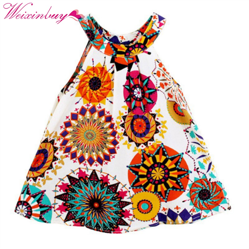 2017 Brand Summer Toddle Kids Clothes Girls Dress Sleeveless Floral Princess Party Dress A-Line Dresses 3-7Y