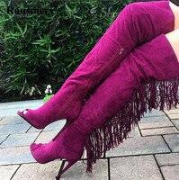 מכירת חמה אופנה נשים להרחיב עור זמש ורוד הבוהן מגפי עקב גבוה סקסי מעל הברך גדילים בשולים ארוכים מגפי