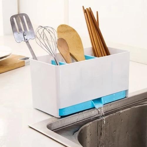 Kitchen Cutlery utensils Storage Box Drain Tray Holder Office Table Organizer
