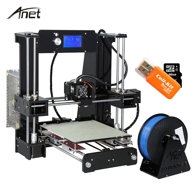 High Precision Anet A6 A8 3D Printer High Print Speed Reprap i3 Impresora 3D DIY Kit Aluminum Hotbed with 16G SD Card Filament easy assemble anet a6 a8 3d printer kit high precision reprap i3 diy large size 3d printing machine hotbed filament sd card lcd