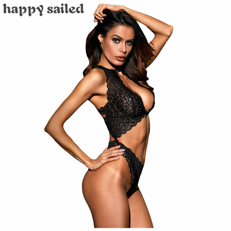 b5d27c235 ... Happy Sailed sexy teddies lingerie hot erotic Black Cut out Lace Open  Bra Teddy Thong Sexy ...
