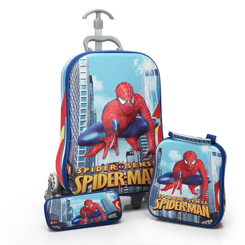 hot 3D stereo Spider Man trolley case Cute kids Travel suitcase boy girl cartoon Lunch bag The Avengers children schoolbag