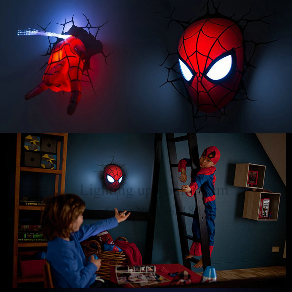 Creative spiderman night light 3d wall lamp amazing baby for Kids room night light