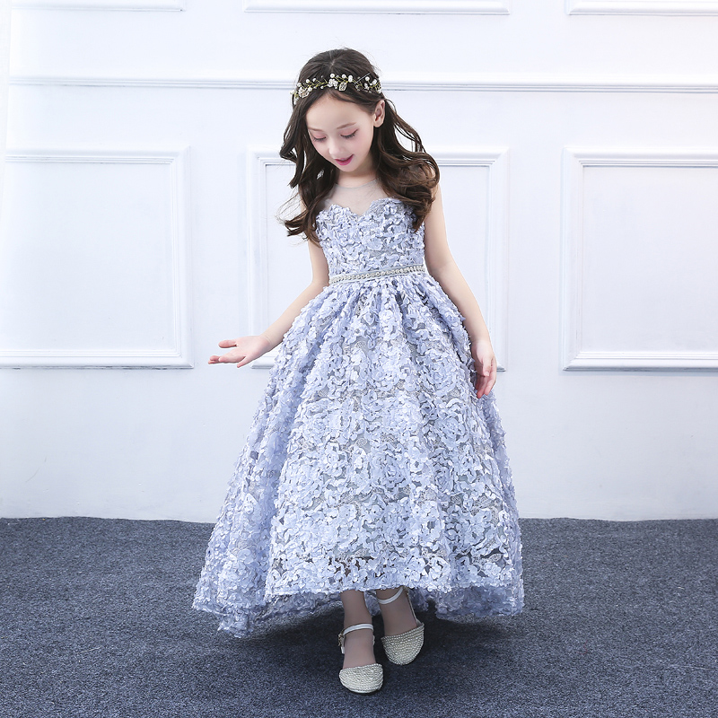 Romantic Ball Gown Beading Floral Girl Dress 2018 O-Neck for Weddings Girls Long Trail Party Communion Dress Pageant Gown JF531 vintage u neck floral party skater dress