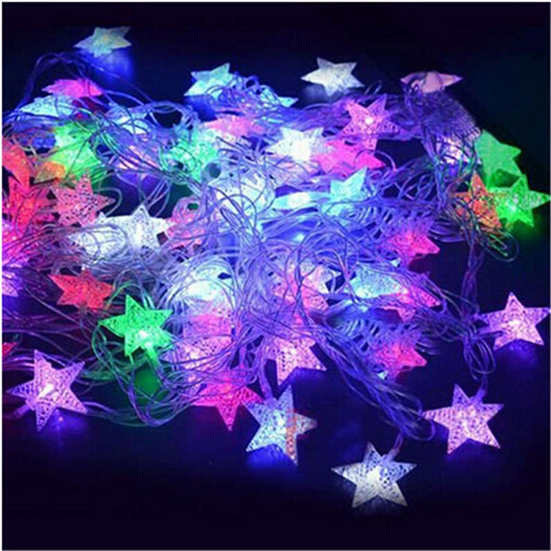 10M 50Led Lights Julgran Snow Star Lampor Led String Fairy Light Xmas Party Bröllop Garden Garland Juldekorationer