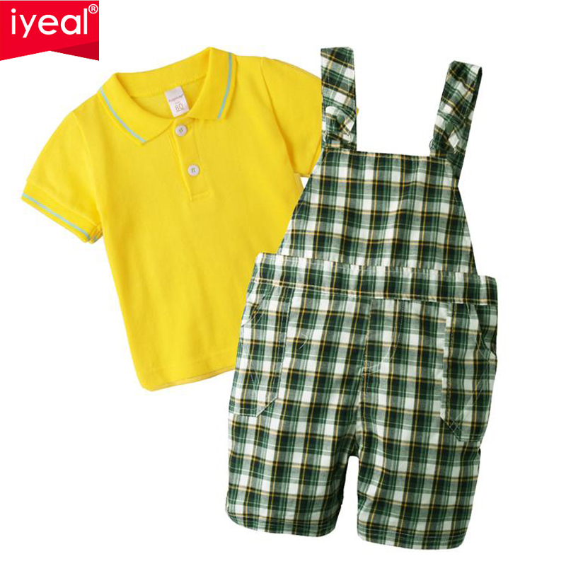 IYEAL Brand Summer Boys Clothing Sets Gentleman Short-Sleeve T-Shirt + Plaid Overalls Newborn Clothing Suit for Birthday Outfits
