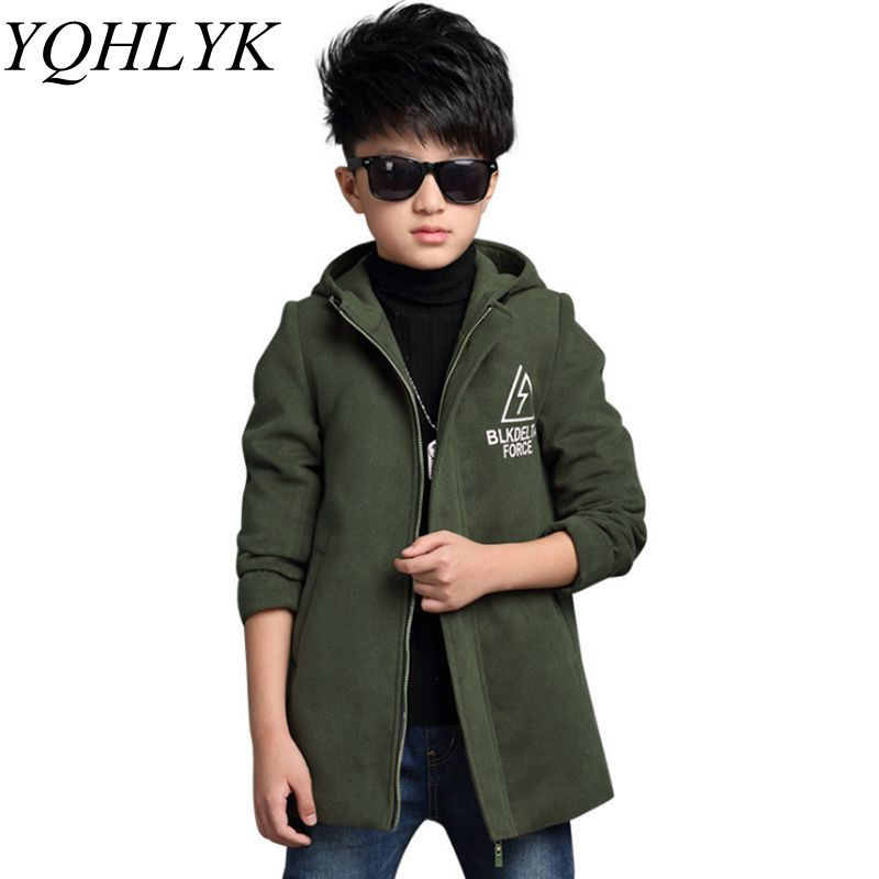 цена New Fashion Autumn Winter Boys Coat 2018 Korean Children Zipper Hooded Jacket Woolen Overcoat Casual Handsome Kids Clothes W164