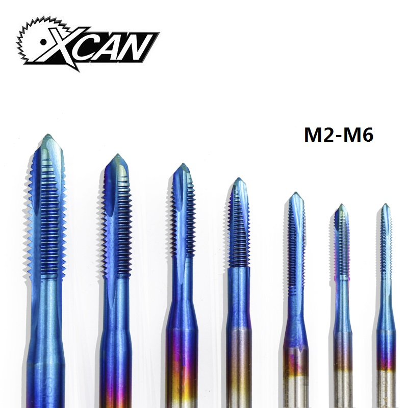 XCAN 1pc M2-M6 Nano Blue Coated Thread Tap High Speed Steel Screw Tap Straight Shank Tap Drill