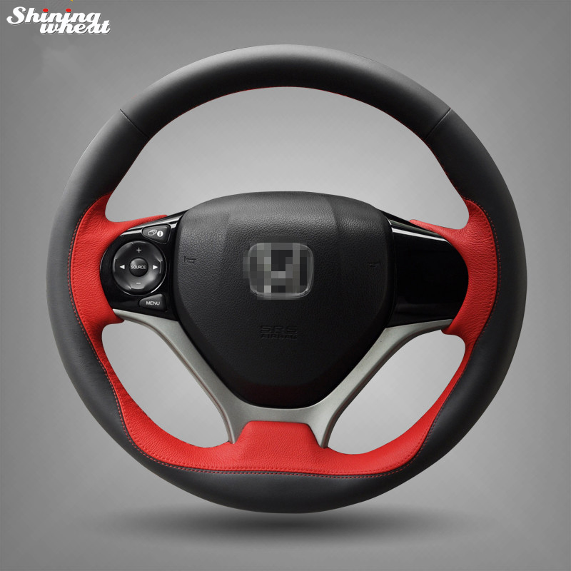 Shining wheat Hand-stitched Black Red Leather Steering Wheel Cover for Honda Civic 2012 2013 2014 Car Special diy hand stitched black red genuine leather car steering wheel cover for honda new fit city jazz 2014 2015 hrv hr v 2016