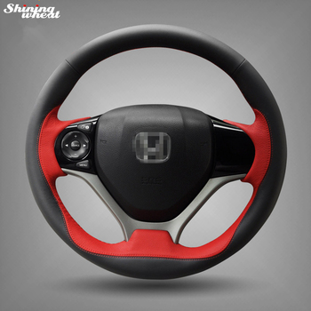 Shining wheat Hand-stitched Black Red Leather Steering Wheel Cover for Honda Civic 2012 2013 2014 Car Special