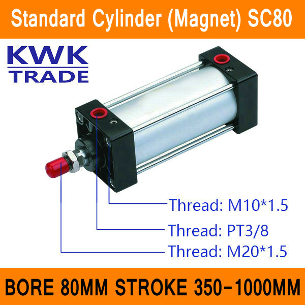 SC80 Standard Air Cylinders Valve Magnet Bore 80mm Strock 350mm to 1000mm Stroke Single Rod Double Acting Pneumatic Cylinder sc100 standard air cylinders valve ce iso bore 100mm strock 350mm to 1000mm stroke single rod double acting pneumatic cylinder