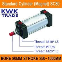 SC80 Стандартные Цилиндры Воздуха Клапан Магнит Диаметр 80 мм Строк 350 мм до 1000 мм Ход Одноместный Род Двойного Действия пневматический Цилиндр