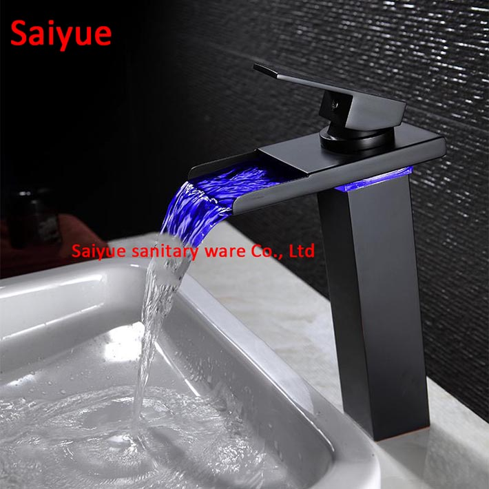 High Oil Rubbed Bronze LED waterfall Bathroom Faucets sink mixer water tap Vessel single Hole/Handle Tap with black glass sprout адаптер питания для ноутбука pitatel ad 035