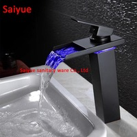High Oil Rubbed Bronze LED waterfall Bathroom Faucets sink mixer water tap Vessel single Hole/Handle Tap with black glass sprout