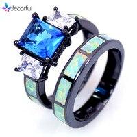 Double Rings Men Women Retail Fashion Fine White Fire Opal Rings With Blue Cubic Zirconia 10KT