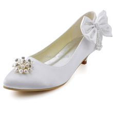 """Free Shipping Custom Made More Colors EP2085 Women Closed Toe Prom Party Pumps Low Heel 1.5"""" Wedding Satin Bridal Shoes"""