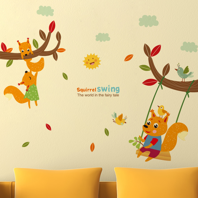 DIY Squirrel Swing Wall Stickers Creative Tree Branch Wall Art ...