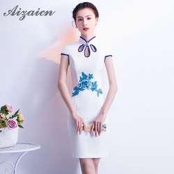 2018 Белый Лето Cheongsam мода на день рождения Традиционный китайский костюмы для женщин Свадебные Qipao Восточный вечернее платье