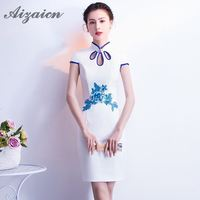 2018 White Summer Cheongsam Fashion Birthday Traditional Chinese Clothing For Women Wedding Qipao Oriental Evening Dress