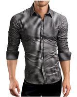 Brand 2018 Fashion Male Shirt Long-Sleeves Tops Classic Plaid Mens Dress Shirts Slim Men Shirt XL