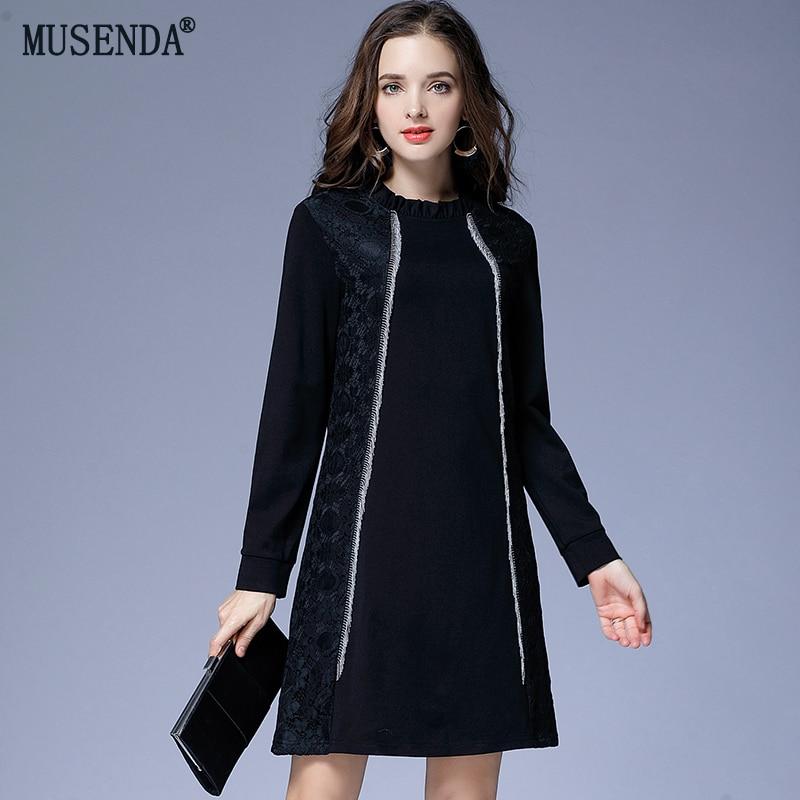 Grande taille dentelle tricoté noir robe courte femmes femmes à manches longues robes élégant fête vêtements hiver élastique mode nouvel an